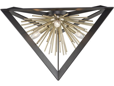 Artcraft Lighting Sunburst Matte Black / Satin Brass 20'' Wide Flush Mount Light ACAC11442