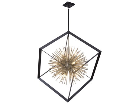 Artcraft Lighting Sunburst Matte Black / Satin Brass 37'' Wide Pendant ACAC11441
