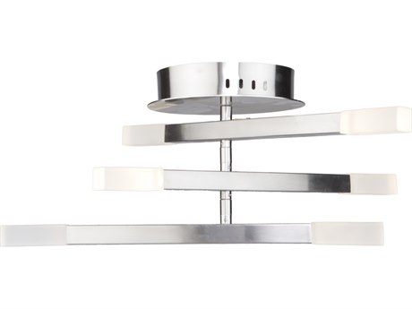 Artcraft Lighting Twig Satin Nickel 24'' Wide Glass LED Flush Mount Light ACSC13097SN