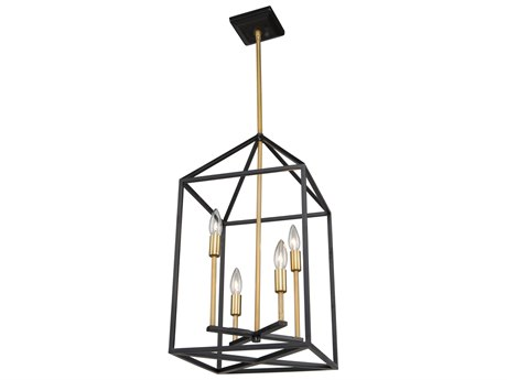 Artcraft Lighting Twilight Matte Black / Harvest Brass 12'' Wide Mini Chandelier