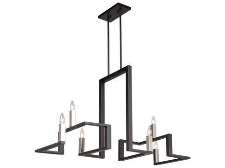 Artcraft Lighting Urban Chic Matte Black / Satin Nickel Six-Light 40'' Wide Chandelier ACAC11137
