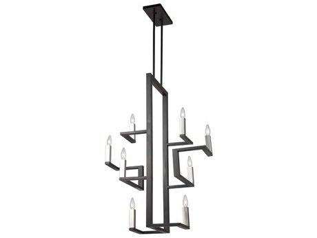 Artcraft Lighting Urban Chic Matte Black / Satin Nickel Eight-Light 27'' Wide Chandelier ACAC11138