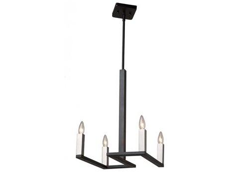 Artcraft Lighting Urban Chic Matte Black / Satin Nickel Four-Light 16'' Wide Mini Chandelier ACAC11134
