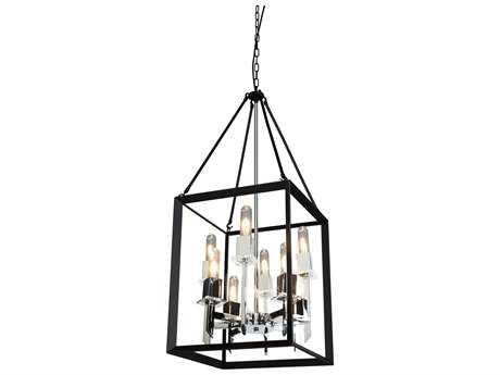 Artcraft Lighting Vineyard Black & Chrome Eight-Light 16'' Wide Chandelier