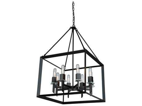 Artcraft Lighting Vineyard Matte Black Eight-Light 20'' Wide Chandelier