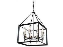 Vineyard Black & Chrome Eight-Light 20'' Wide Chandelier
