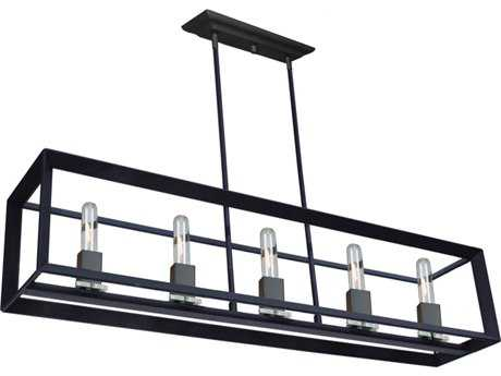 Artcraft Lighting Vineyard Matte Black Five-Light 39'' Wide Island Light ACAC10065