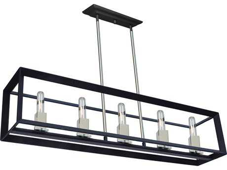 Artcraft Lighting Vineyard Black & Chrome Five-Light 39'' Wide Island Light ACAC10065BC