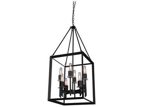 Artcraft Lighting Vineyard Matte Black Eight-Light 16'' Wide Mini Chandelier