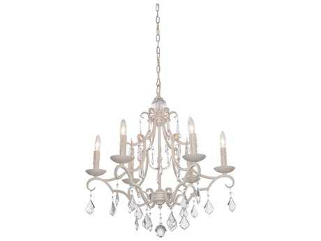 Artcraft Lighting Vintage Antique White Six-Light 25'' Wide Chandelier ACCL1576AW
