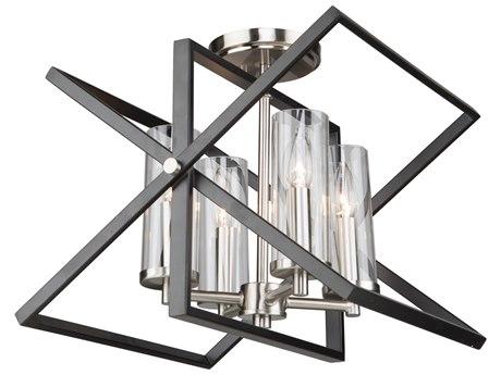Artcraft Lighting Vissini Matte Black / Polished Nickel 14'' Wide Semi-Flush Mount