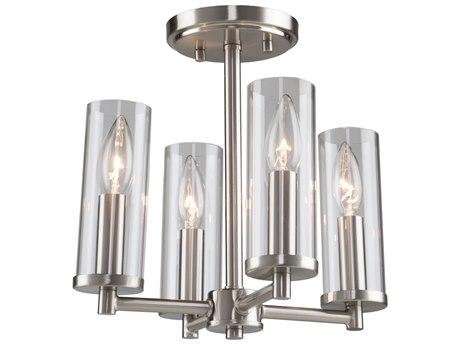 Artcraft Lighting Vissini Matte Black / Polished Nickel 12'' Wide Semi-Flush Mount