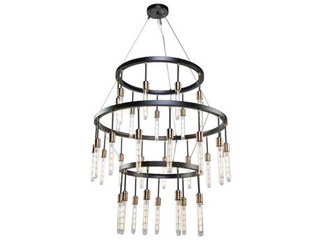 Artcraft Lighting Willow Dark Bronze / Vintage Brass 33-Light 37'' Wide Chandelier ACAC11093