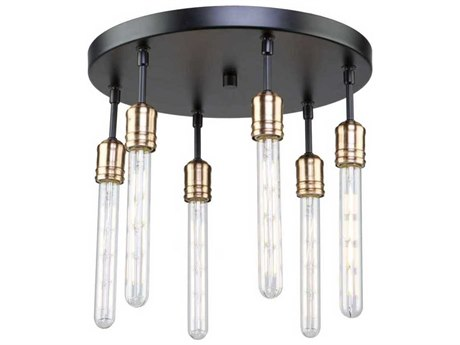 Artcraft Lighting Willow Dark Bronze / Vintage Brass Six-Light 16'' Wide Flush Mount Light ACAC11096