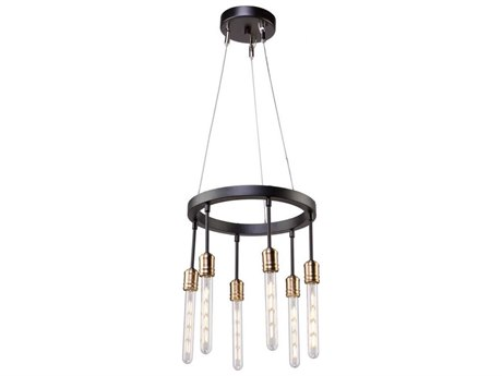 Artcraft Lighting Willow Dark Bronze / Vintage Brass Six-Light 15'' Wide Mini Chandelier ACAC11097