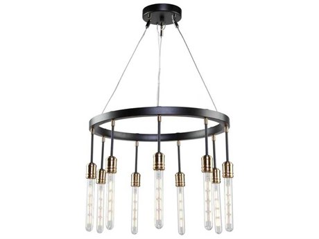 Artcraft Lighting Willow Dark Bronze / Vintage Brass Nine-Light 22'' Wide Mini Chandelier ACAC11099