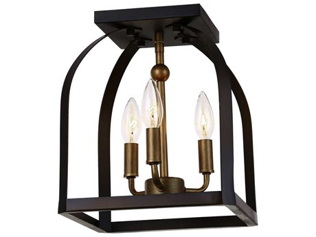 Artcraft Lighting Worthington Oil Rubbed Bronze & Antique Gold Three-Light 10'' Wide Flush Mount Light ACAC11012