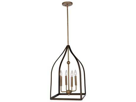 Artcraft Lighting Worthington Oil Rubbed Bronze & Antique Gold Four-Light 14'' Wide Mini Chandelier ACAC11011