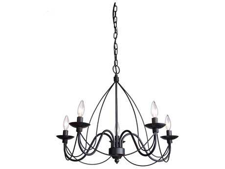 Artcraft Lighting Wrought Iron Black Five-Light 19'' Wide Mini Chandelier ACAC1485EB