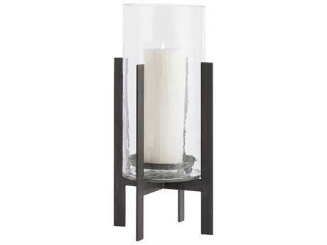 Arteriors Home Bowen Clear Glass with Natural Iron 10'' Wide Candle Holder ARH2256