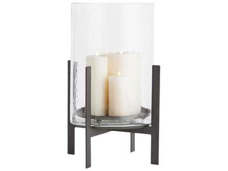 Arteriors Home Bowen Clear Glass with Natural Iron 15'' Wide Candle Holder ARH2257