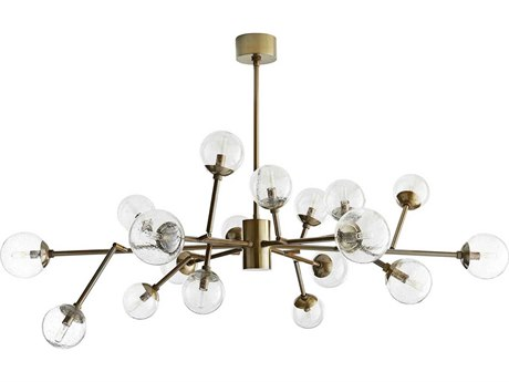 Arteriors Home Dallas Vintage Brass with Seedy Glass 18-Lights 45'' Wide Grand Chandelier ARH89966