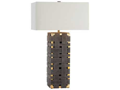 Arteriors Home Elis Moss Gray Suede with Polished Brass Buffet Lamp ARHDS12010111