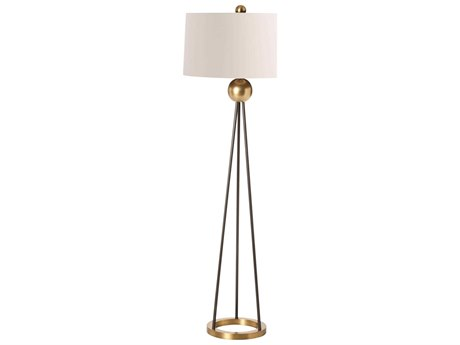 Arteriors Home Hadley Matte Black with Antique Brass Floor Lamp ARH79932769