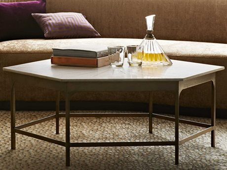 Arteriors Home Mae White Marble / Antique Brass 44'' Wide Hexagon Coffee Table ARH6881