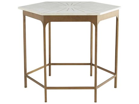 Arteriors Home Mae White Marble / Antique Brass 32'' Wide Hexagon End Table ARH6880