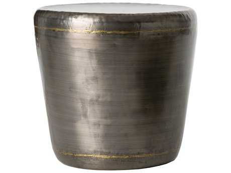 Arteriors Home Malcom Dark Silver with Brass Welds 20.5'' Round Drum Table