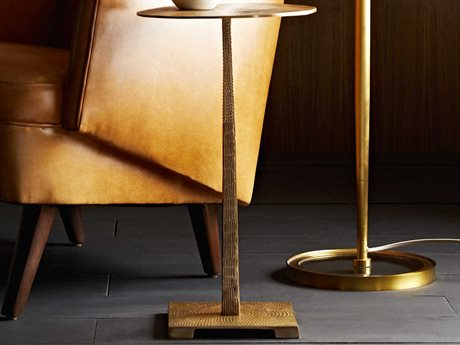 Arteriors Home Otelia Vintage Brass 12'' Wide Round Pedestal Table