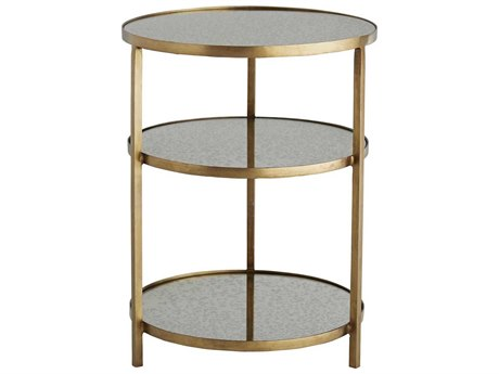 Arteriors Home Percy Antique Mirror / Brass 18'' Wide Round End Table