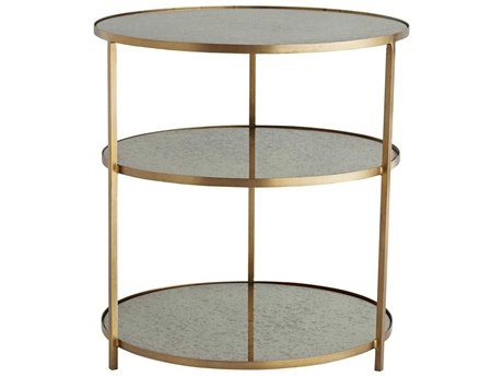Arteriors Home Percy Antique Mirror / Brass 28'' Wide Round End Table ARH6553