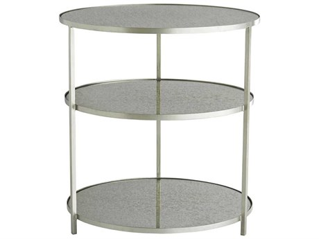 Arteriors Home Percy Antique Mirror / Zinc 28'' Wide Round End Table ARH6682