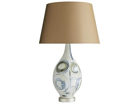 Arteriors Home Sandro Satin Papyrus With Greige & Denim Accents Buffet Lamp ARH11124105