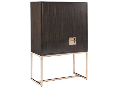 Artistica Home Casanova Ebony with Brass Bar Cabinet ATS2043961C