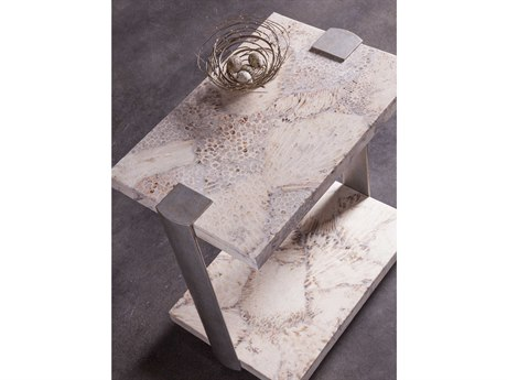 Artistica Home Corrina Fossilized Coral with Dark Iron 18''L x 12''W Rectangular Table Shape