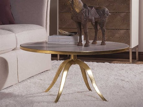 Artistica Home Crystal Stone White Crystal Fossil Stone with Gold Foil 36'' Wide Round Cocktail Table ATS2023943