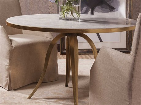 Artistica Home Crystal Stone White Crystal Fossil Stone with Gold Leaf 48'' Wide Round Dining Table ATS2023870C