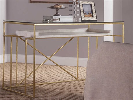 Artistica Home Cumulus Gold Leaf with White Crystal Stone 48''L x 26''W Rectangular Writing Desk ATS2024933C