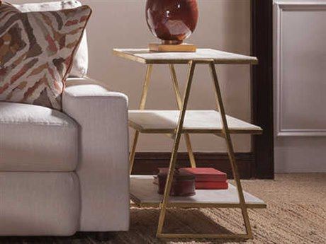 Artistica Home Cumulus Triangular Tier White Crystal Stone with Gold Leaf 25''L x 16''W Rectangular End Table