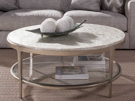 Artistica Home Gravitas White Capiz Shell with Champagne 42'' Wide Round Cocktail Table ATS2050943C