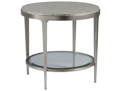 Artistica Home Gravitas White Capiz Shell with Champagne 26'' Wide Round End Table ATS2050953C
