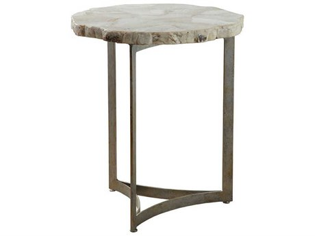 Artistica Home Gregory Fossilized White Clam Shell with Antique Iron 18'' Wide Round End Table