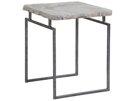 Artistica Home Gregory Fossilized White Clam Shell with Antique Iron 18'' Wide Square End Table