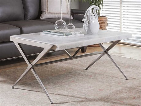 Artistica Home Greta Light Gray Onyx with Dark Iron Base 44''L x 24''W Rectangular Cocktail Table ATS2080945