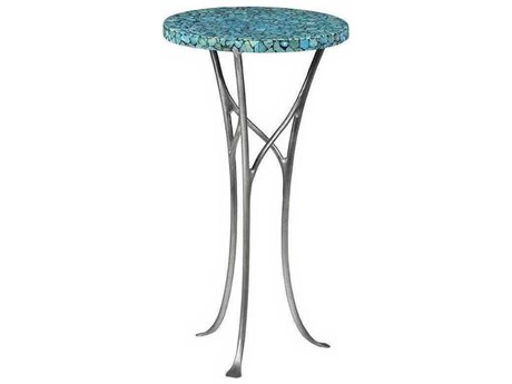 Artistica Isidora Turquoise / Pewter 12'' Wide Round End Table