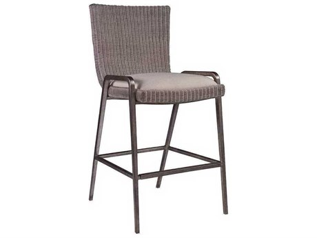 Artistica Iteration Woven / Antiqued Silver Leaf Side Bar Height Stool