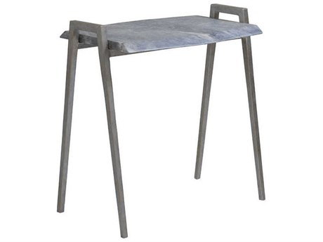 Artistica Home Leo Gray Marble with Dark Iron 23''L x 15''W Rectangular Table Shape